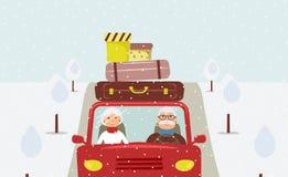 Όμορφη οικογένεια κινούμενων σχεδίων: ο ηλικιωμένοι άνδρας και η γυναίκα πηγαίνουν στις διακοπές Χριστουγέννων απεικόνιση αποθεμάτων