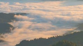 Όμορφη ομίχλη που κινείται στο βουνό το πρωί, timelapse απόθεμα βίντεο