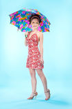 όμορφη ομπρέλα κοριτσιών Στοκ εικόνες με δικαίωμα ελεύθερης χρήσης
