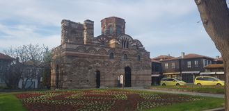 Όμορφη παλαιά χριστιανική εκκλησία pantocrator Χριστού στην παλαιά πόλη θερέτρου Nesebar στοκ εικόνες