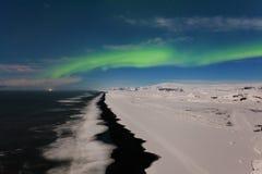 Όμορφη πανοραμική αυγή Borealis ή καλύτερα - γνωστός ως βόρεια φω'τα για το υπόβαθρο δείτε στην Ισλανδία, Jokulsarlon στοκ φωτογραφίες