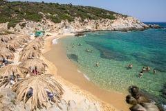 Όμορφη παραλία Tigania στην ελληνική χερσόνησο Sithonia Στοκ Φωτογραφίες