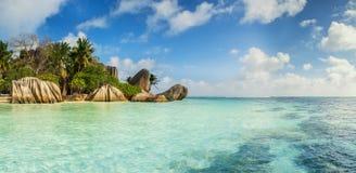 Όμορφη παραλία των Σεϋχελλών, Λα Digue, πηγή δ ` Argent νησιών Anse Στοκ φωτογραφία με δικαίωμα ελεύθερης χρήσης