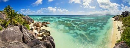Όμορφη παραλία των Σεϋχελλών, Λα Digue, πηγή δ ` Argent νησιών Anse Στοκ εικόνα με δικαίωμα ελεύθερης χρήσης