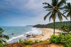 Όμορφη παραλία Anjuna, Goa, Ινδία Στοκ Εικόνες
