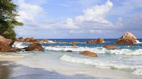 Όμορφη παραλία Anse Λάτσιο Στοκ Εικόνα