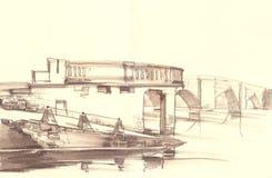 Όμορφη παλαιά γέφυρα πέρα από τον ποταμό Στοκ Εικόνα