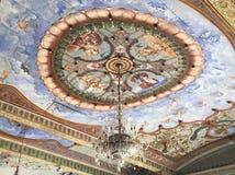 Όμορφη περίπλοκη ζωγραφική στο ανώτατο όριο στο παλάτι του Mysore Στοκ εικόνα με δικαίωμα ελεύθερης χρήσης