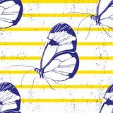 Όμορφη πεταλούδα σκιαγραφιών άνευ ραφής διάνυσμα ανασκό διανυσματική απεικόνιση