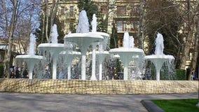 Όμορφη πηγή στον κήπο πόλεων μια θερινή ημέρα στο Μπακού, Αζερμπαϊτζάν απόθεμα βίντεο