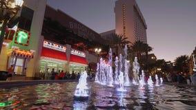 Όμορφη πηγή στο ξενοδοχείο Linq στο Λας Βέγκας - ΗΠΑ 2017 απόθεμα βίντεο