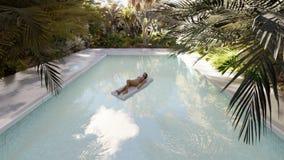 Όμορφη πισίνα με τους λούζοντας ανθρώπους, σε ένα χαμένο τροπικό νησί μια σαφή ηλιόλουστη ημέρα τρισδιάστατη απόδοση απεικόνιση αποθεμάτων