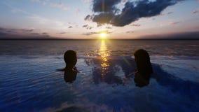 Όμορφη πισίνα με το λούζοντας άνδρα και τη γυναίκα στο ηλιοβασίλεμα, σε ένα χαμένο τροπικό νησί r διανυσματική απεικόνιση