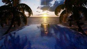Όμορφη πισίνα με το λούζοντας άνδρα και τη γυναίκα στο ηλιοβασίλεμα, σε ένα χαμένο τροπικό νησί r ελεύθερη απεικόνιση δικαιώματος