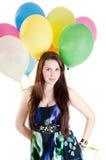όμορφη πολύχρωμη γυναίκα μπαλονιών αέρα Στοκ Εικόνες