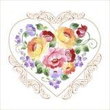 Όμορφη πολύχρωμη καρδιά με τα τριαντάφυλλα και άλλα λουλούδια Sprin Στοκ εικόνα με δικαίωμα ελεύθερης χρήσης