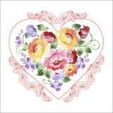 Όμορφη πολύχρωμη καρδιά με τα τριαντάφυλλα και άλλα λουλούδια Sprin Στοκ φωτογραφία με δικαίωμα ελεύθερης χρήσης