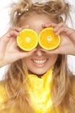 όμορφη πορτοκαλιά s γυναίκ& Στοκ φωτογραφία με δικαίωμα ελεύθερης χρήσης