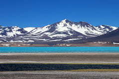 Όμορφη πράσινη λιμνοθάλασσα, Laguna Verde, κοντά στο πέρασμα Σαν Φρανσίσκο και Nevado Ojos Del Salado, Atacama, Χιλή βουνών Στοκ Φωτογραφία