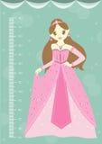 Όμορφη πριγκήπισσα με τον τοίχο μετρητών ή μετρητής ύψους από 50 έως 180 το εκατοστόμετρο, διανυσματικές απεικονίσεις διανυσματική απεικόνιση