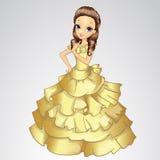 Όμορφη πριγκήπισσα στο χρυσό φόρεμα απεικόνιση αποθεμάτων