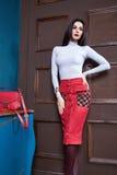 Όμορφη προκλητική φούστα ένδυσης τρίχας brunette γυναικών στοκ εικόνα