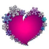 Όμορφη ρόδινη καρδιά που γίνεται με snowflakes Στοκ εικόνα με δικαίωμα ελεύθερης χρήσης