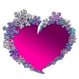 Όμορφη ρόδινη καρδιά που γίνεται με snowflakes Στοκ Εικόνες