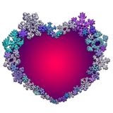 Όμορφη ρόδινη καρδιά που γίνεται με snowflakes Στοκ Φωτογραφίες