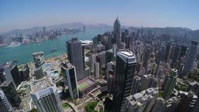 Όμορφη σαφής κεραία πόλεων Χονγκ Κονγκ ουρανού απόθεμα βίντεο