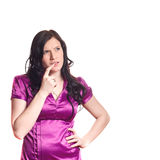 όμορφη σκεπτόμενη γυναίκα & Στοκ εικόνες με δικαίωμα ελεύθερης χρήσης