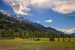 Όμορφη σκηνή ανοίξεων στα καναδικά βουνά ακτών Στοκ Φωτογραφία