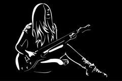 όμορφη σκηνή κιθάρων κοριτ&sigm ελεύθερη απεικόνιση δικαιώματος