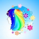 Όμορφη σκιαγραφία γυναικών με τα λουλούδια διανυσματική απεικόνιση