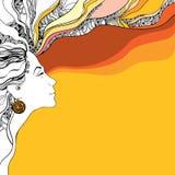 Όμορφη σκιαγραφία γυναικών στο πορτοκαλί κυματιστό υπόβαθρο Στοκ Φωτογραφίες