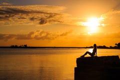όμορφη σκιαγραφία κοριτσ& Στοκ Φωτογραφίες