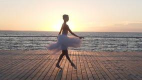 Όμορφη σκιαγραφία του νέου ballerina στο άσπρο tutu Να κάνει τις κλασικές κινήσεις μπαλέτου Ανάχωμα κοντά στη θάλασσα ή τον ωκεαν απόθεμα βίντεο