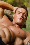 Όμορφη, σοβαρή muscleman κλίση στον ξύλινο πάγκο Στοκ Εικόνα