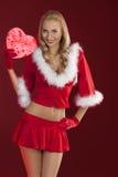 όμορφη στάση santa κοριτσιών δώρ&ome Στοκ Εικόνες