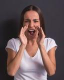 όμορφη συναισθηματική κυρία στοκ φωτογραφία με δικαίωμα ελεύθερης χρήσης