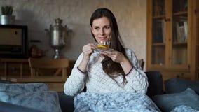 Όμορφη συνεδρίαση γυναικών στον καναπέ που τυλίγεται σε ένα κάλυμμα και ένα τσάι κατανάλωσης απόθεμα βίντεο