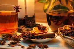 Όμορφη σύνθεση με το γλυκάνισο, τα γαρίφαλα, το ραβδί κανέλας και τη σκόνη, το τσάι και το ξηρό πορτοκάλι στοκ εικόνα