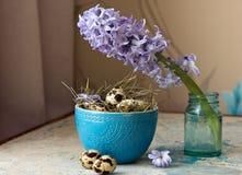 Όμορφη σύνθεση Πάσχας Αυγά ορτυκιών στο μπλε κύπελλο και τον υάκινθο λουλουδιών Στοκ Εικόνα