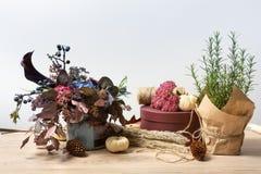 Όμορφη σύνθεση φθινοπώρου των ξηρών λουλουδιών, του δεντρολιβάνου και των φύλλων λιβαδιών Στοκ Φωτογραφίες