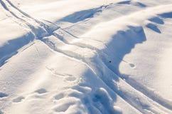 Όμορφη σύσταση χιονιού με τις σκανδιναβικές διαδρομές σκι στοκ εικόνες