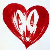 Όμορφη ταπετσαρία χεριών διακοσμήσεων σύστασης αγάπης ζευγών καρδιών υποβάθρου Watercolor αφηρημένη Στοκ Φωτογραφίες