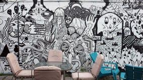 Όμορφη τοιχογραφία, γκράφιτι Στοκ Φωτογραφία