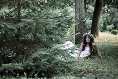 Όμορφη τοποθέτηση κοριτσιών στο βλαστό φωτογραφιών στο δάσος Στοκ Εικόνα