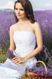 Όμορφη τοποθέτηση νυφών στον τομέα lavender Στοκ εικόνες με δικαίωμα ελεύθερης χρήσης