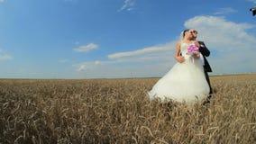 Όμορφη τοποθέτηση Newlyweds για τη κάμερα απόθεμα βίντεο